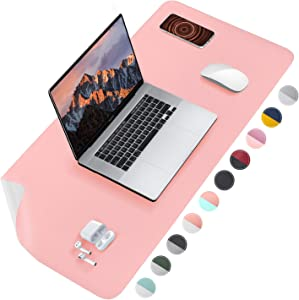 Tislly Leather Desk Pad, Dual-Sided Desk Protector, Desk Mat for Keyboard and Mouse, Desk Blotters on Top of Desks for Writing in Office/Home (Pink+Silver, 35.4