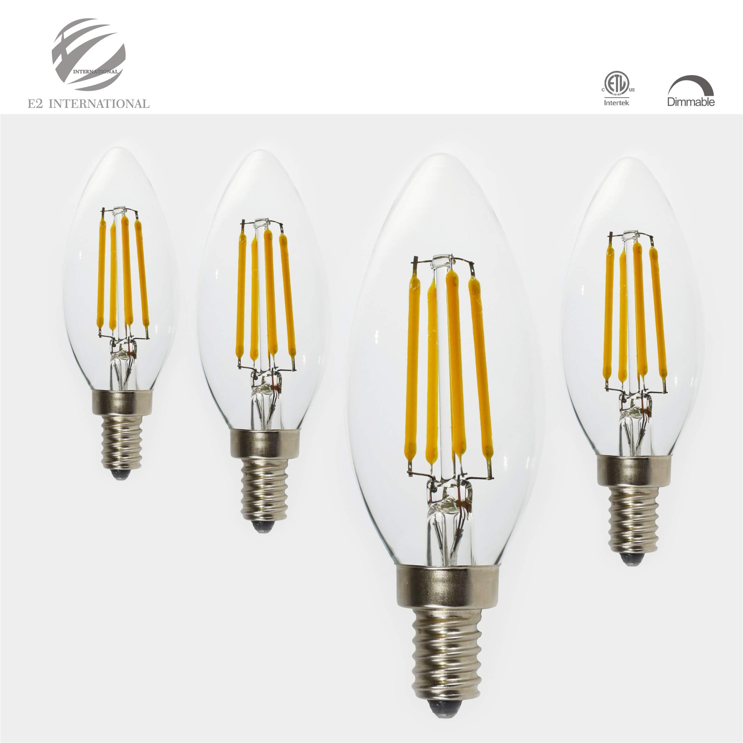 E2INTL LED Candelabra Bulbs, E12 LED Filament Bulbs, Pack of 4 - C35 Candle Light Bulbs, Triac deep dimmable, 2700K, 4W (40 Watt Incandescent Bulb Replacement), Tested and ETL Listed for Safety.