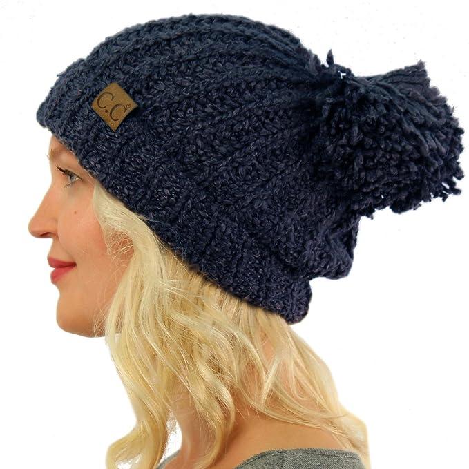 6aa4cb4ae560 Winter CC Soft Chenille Pom Pom Warm Chunky Stretchy Knit Beanie Cap Hat  Dk. Denim