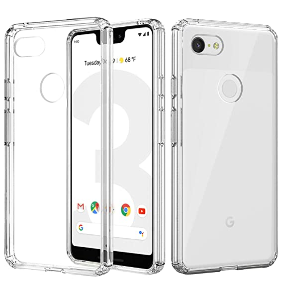 hot sale online 381ba b0a02 MoKo Google Pixel 3 XL Case, Anti-Scratch Slim Hard PC Backplate Hybrid +  TPU Bumper Shock Absorption Anti-Yellow Cellphone Shell Fit with Google ...