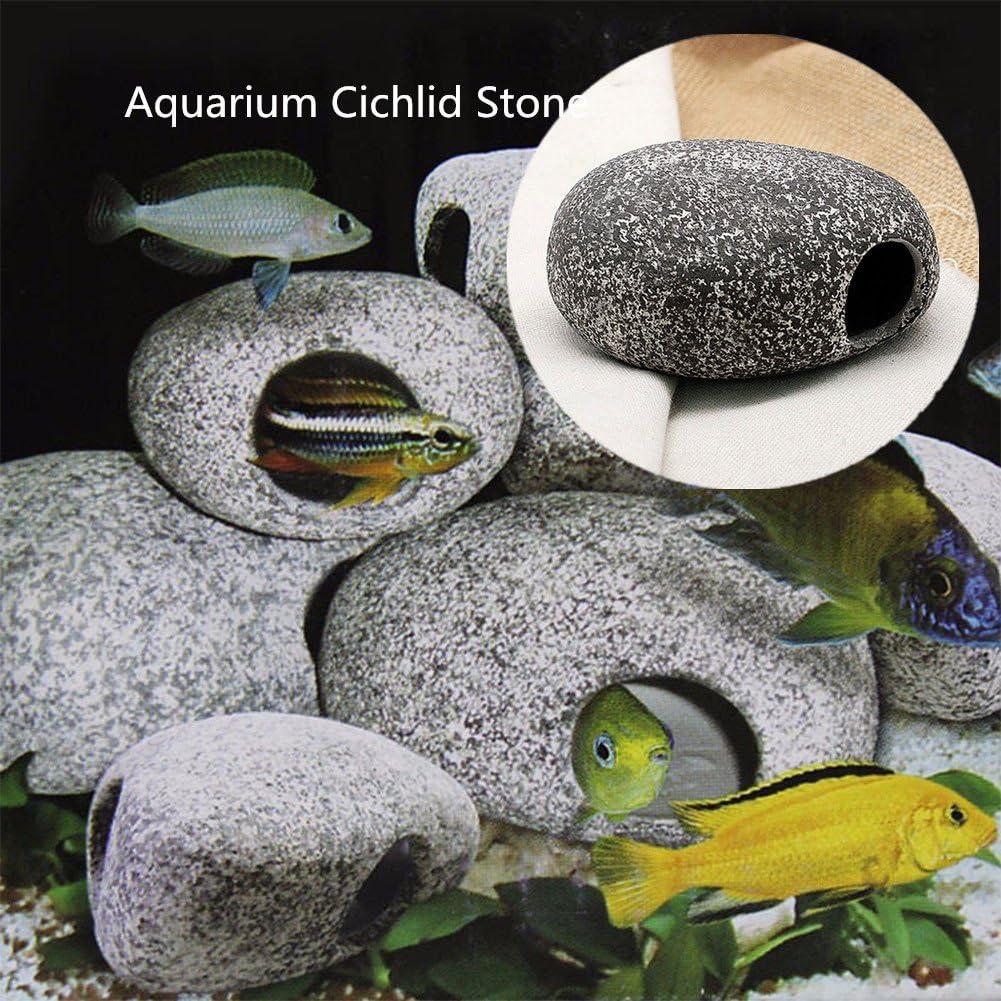 SHUNYUS Aquarium Cichlid Stones Ceramic Tank Decoration Fish Ornament Stone Hiding Caves Rock Cave