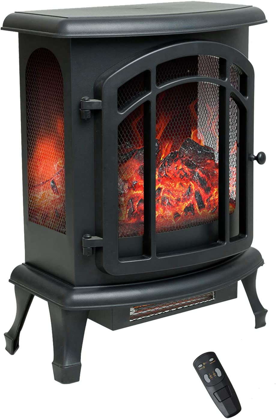 Flame Shade 24 Inch Electric Fireplace Wood Stove Portable Freestanding Indoor Space Heater With Remote Timer 1500 750w Kitchen Dining