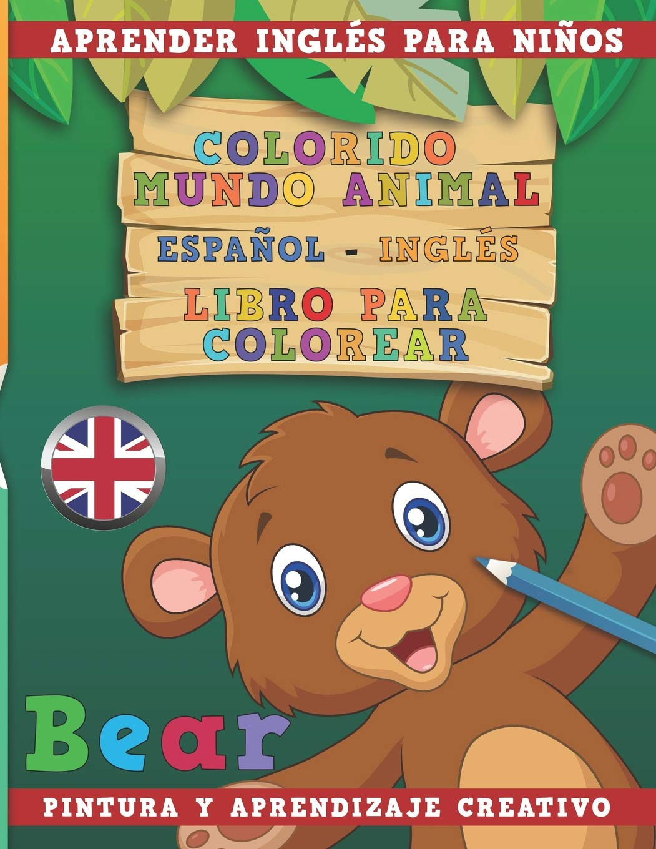 Colorido Mundo Animal Español Inglés Libro Para Colorear