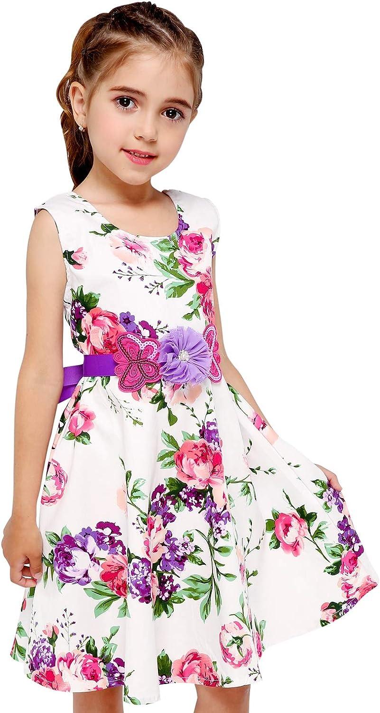 PrinceSasa Girls Sleeveless Vintage Print Swing Party Dresses