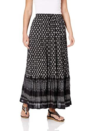 a2656475a4 Roman Originals Women Aztec Tiered Maxi Skirt - Ladies Long 100% Cotton  Summer Holiday Winter Crinkle Casual Hippy Festival Gypsy Monochrome  Patterned ...