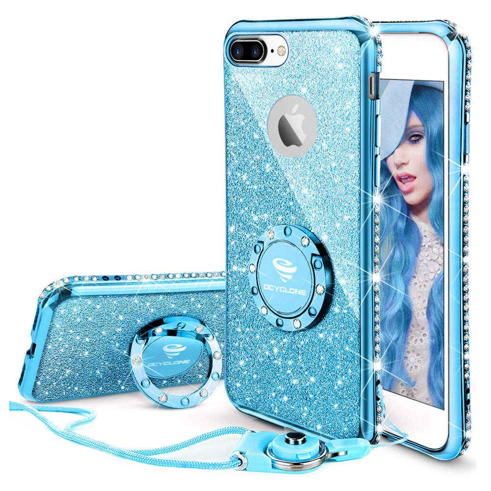 official photos 5f6c0 6f0d4 OCYCLONE iPhone 8 Plus Case, iPhone 7 Plus Case for Girl Women, Glitter  Cute Girly Diamond Rhinestone Bumper with Ring Kickstand Protective Phone  Case ...