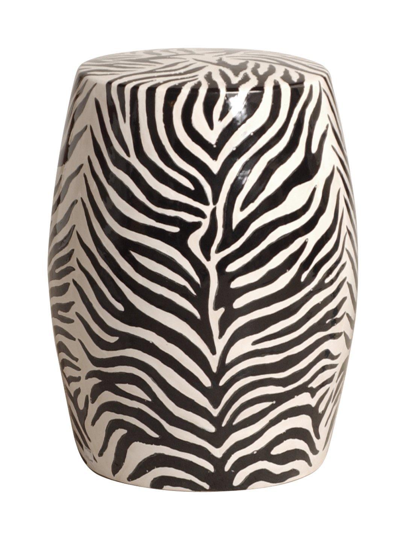 Modern Zebra Print Ceramic Garden Seat Stool