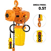 mophorn 1/2 ton electric chain hoist single phase 1100lbs 10ft lift height  electrical hook