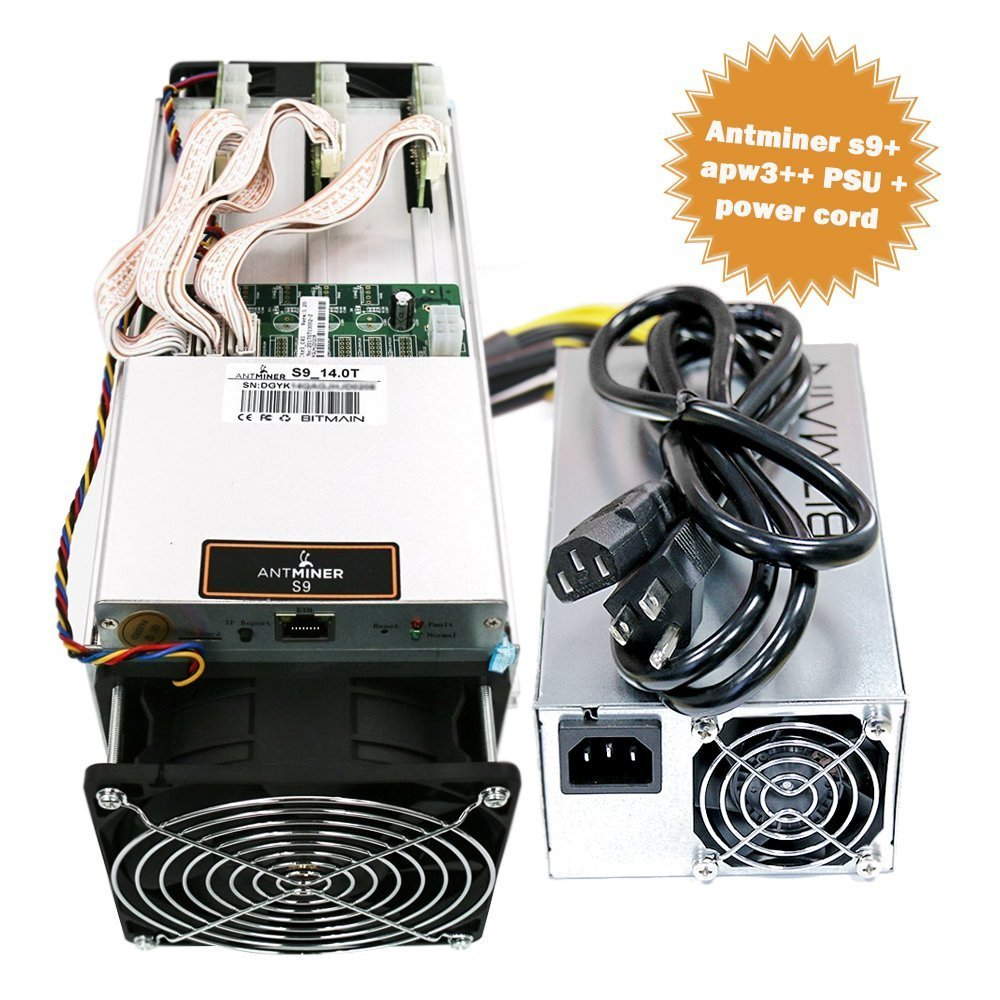 Antminer S9 14 TH/s Bitcoin Miner with Bitmain APW3++ Power Supply