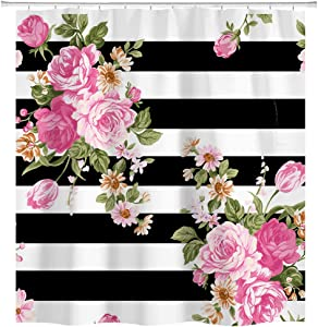 hipaopao Floral Stripe Shower Curtain Pink Flower Fabric Shower Curtain Sets Bathroom Decor with Hooks Waterproof Washable 72 x 72 inches Black White Green