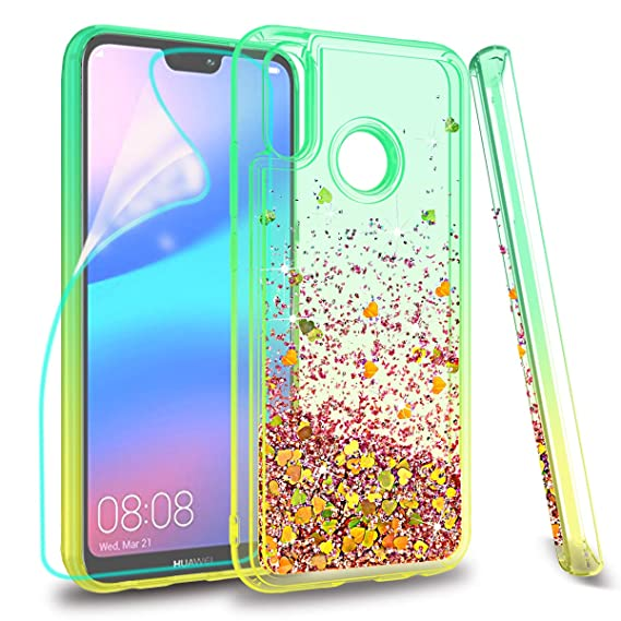 ZingCon suit for Huawei Nova 3E(not Nova 3) Case,Huawei P20 Lite Glitter Case with Quicksand Bling Adorable Shine,[HD Screen Protector] Shockproof ...