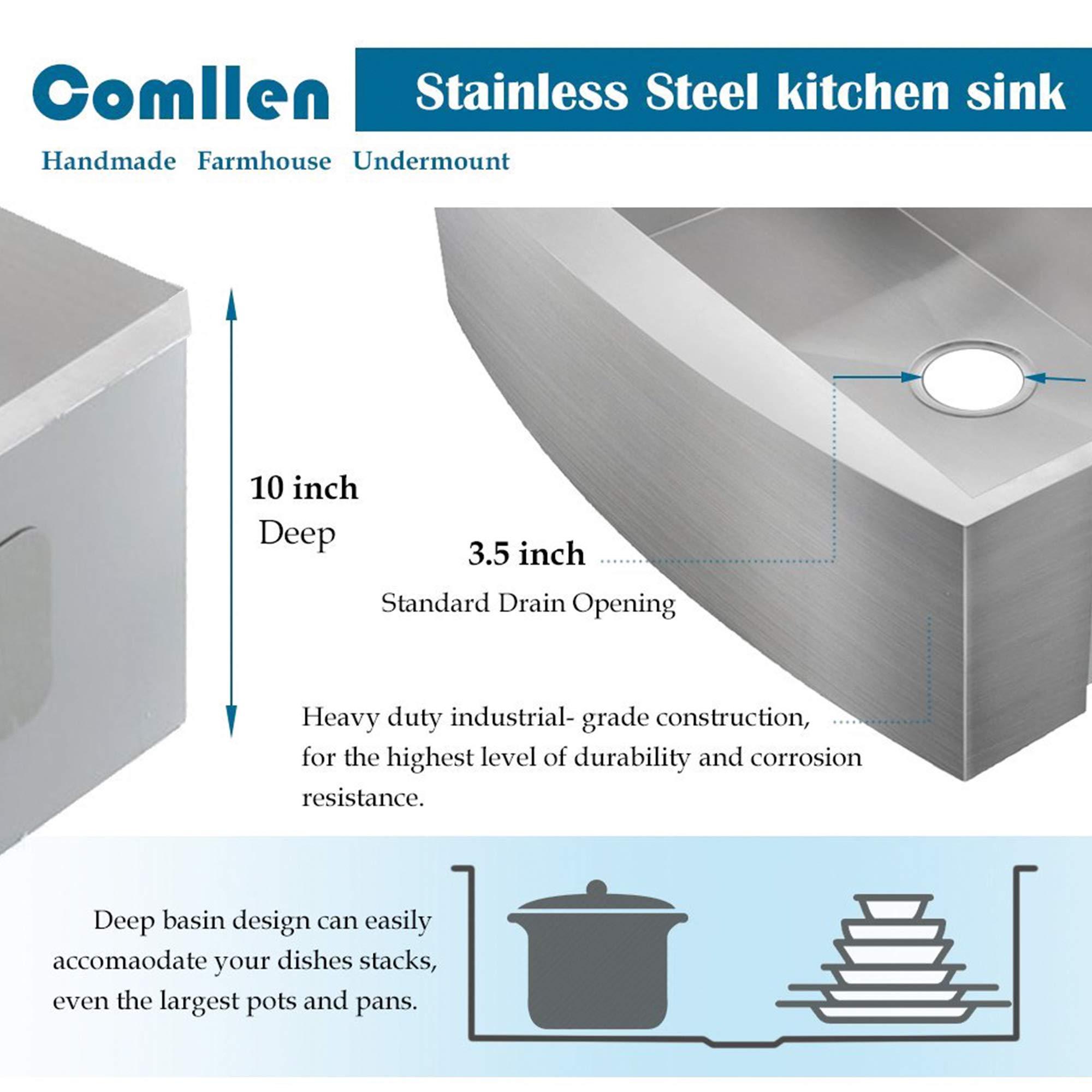 Comllen 33 Inch 304 Stainless Steel Farmhouse Kitchen Sink, Single Bowl 16 Gauge 10 Inch Deep Handmade Undermount Apron Kitchen Sink by Comllen (Image #4)
