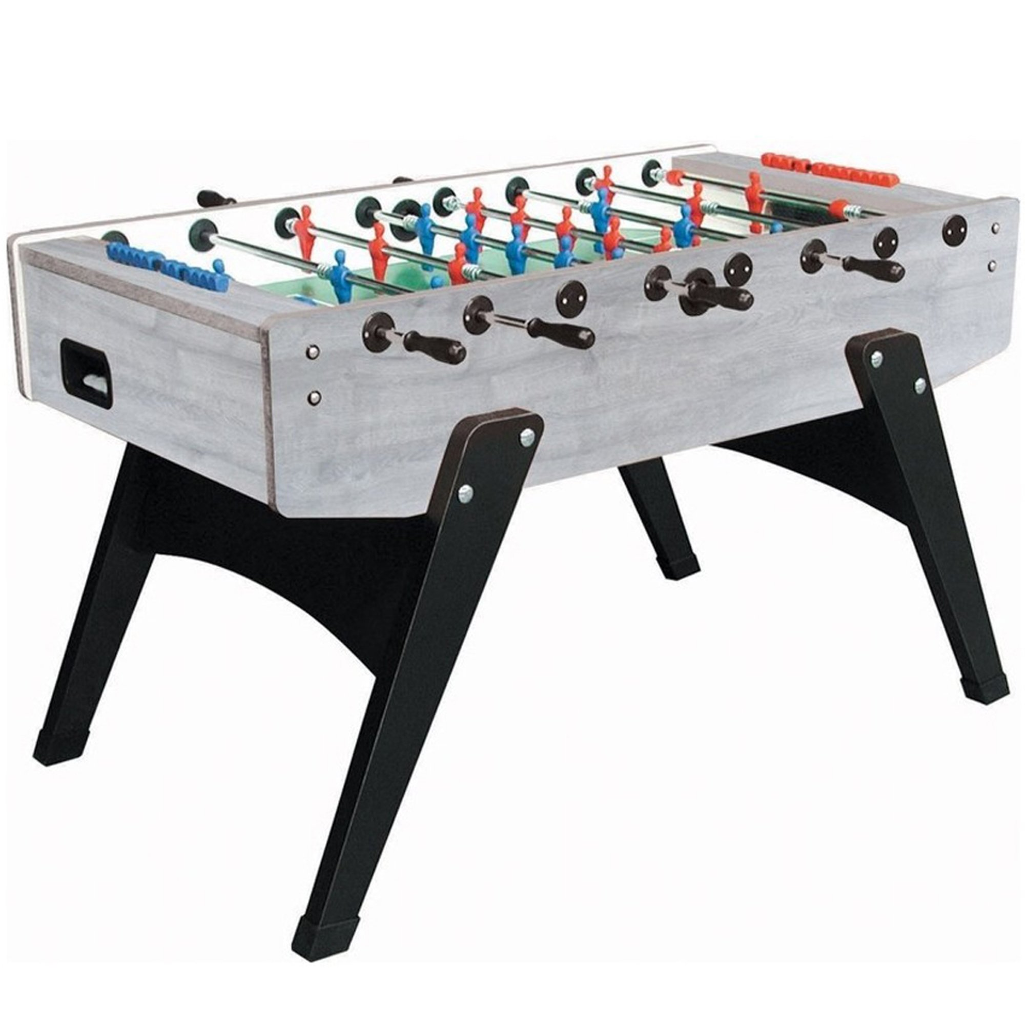 Garlando G-2000 Grey Oak Foosball Table with Telescopic Steel Bars, Ergonomic Handles, Abacus Scorers and 10 Standard Balls by Garlando