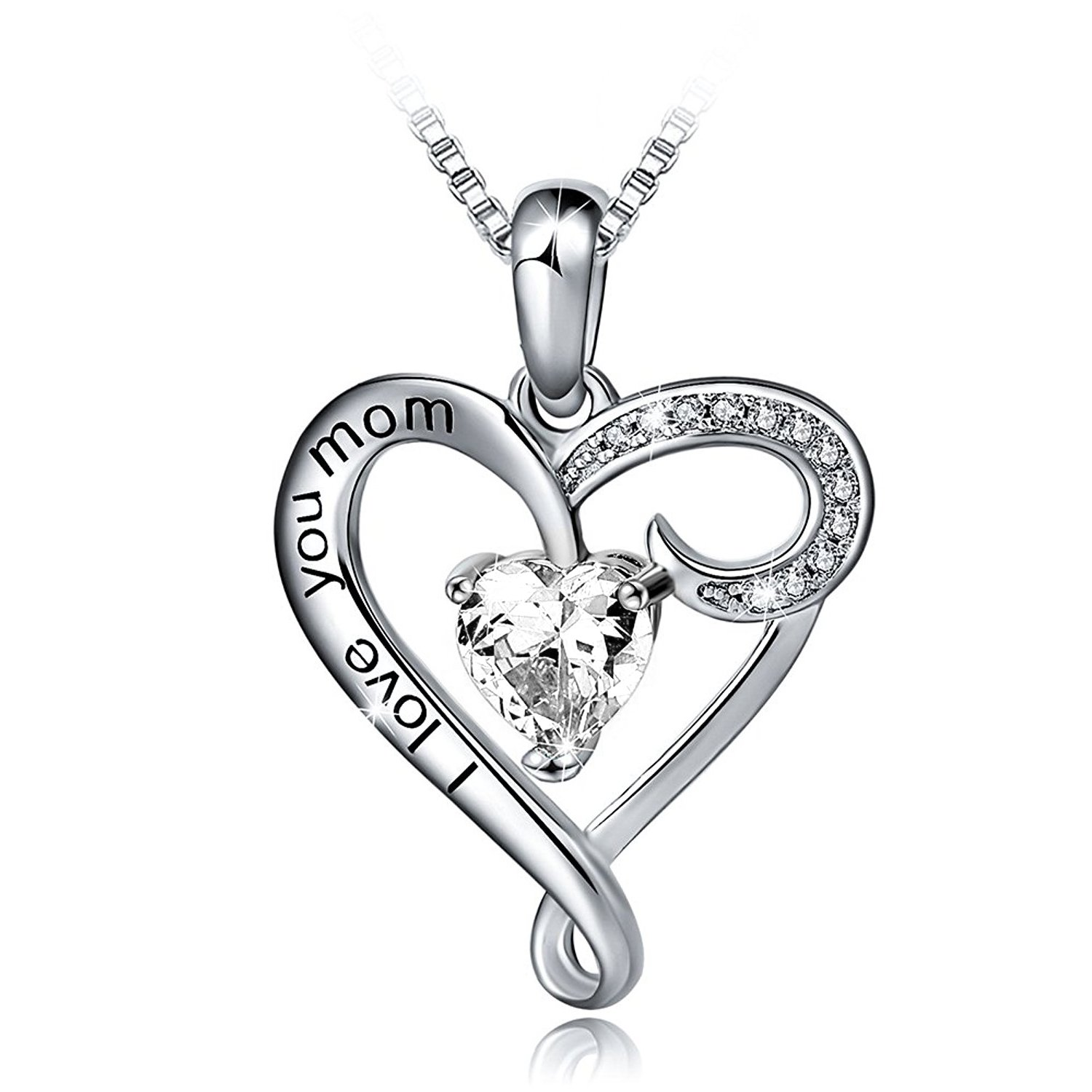 HACOOL Mother's Birthday gift 925 Sterling Silver Jewelry I Love You Mom Love Heart Pendant Necklace