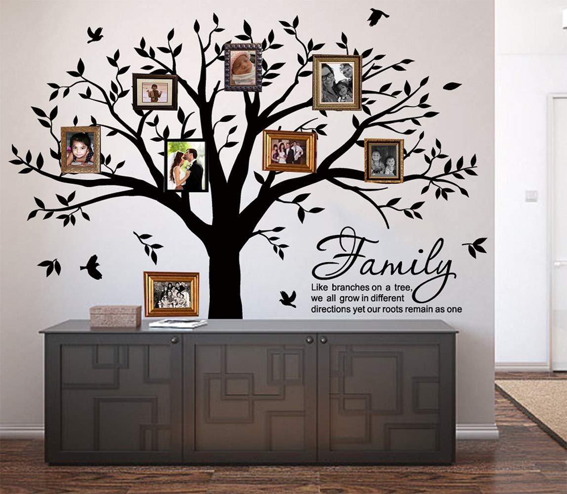 LUCKKYY Grant Family Tree Wall Decal with Family Like Branches on a Tree Quote Wall Decal Tree Wall Sticker (83'' Wide x 83'' high) (Black)