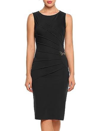 1725bf6c9bf5 ACEVOG Women s Retro 1950s Style Sleeveless Slim Business Pencil Dress