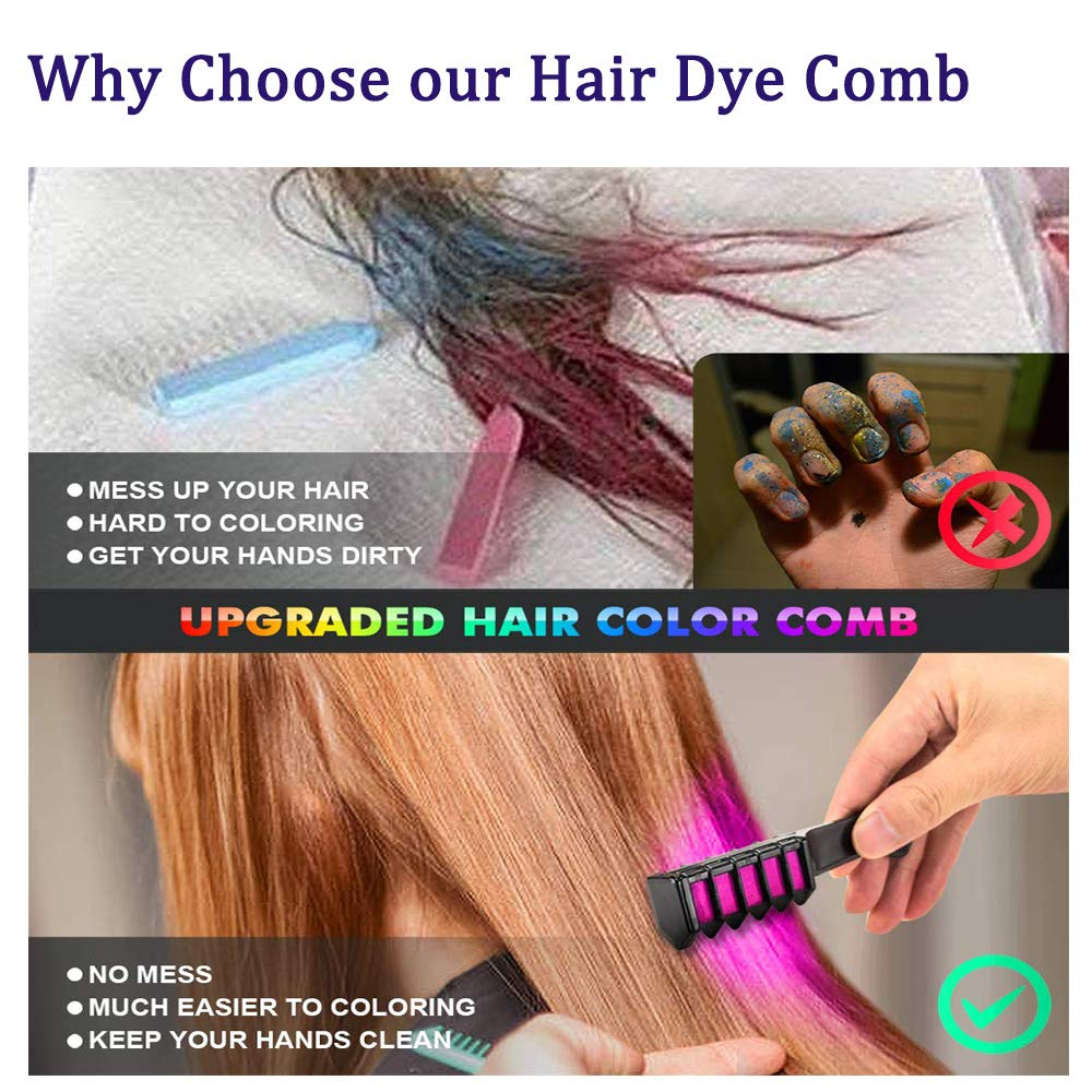 Hair Chalk 10 Colorful Temporary Bright Hair Color Combs Akami Washable Hair Color Chalks Hair Glitter Birthday Gift For Girls Kids Hair Dyeing