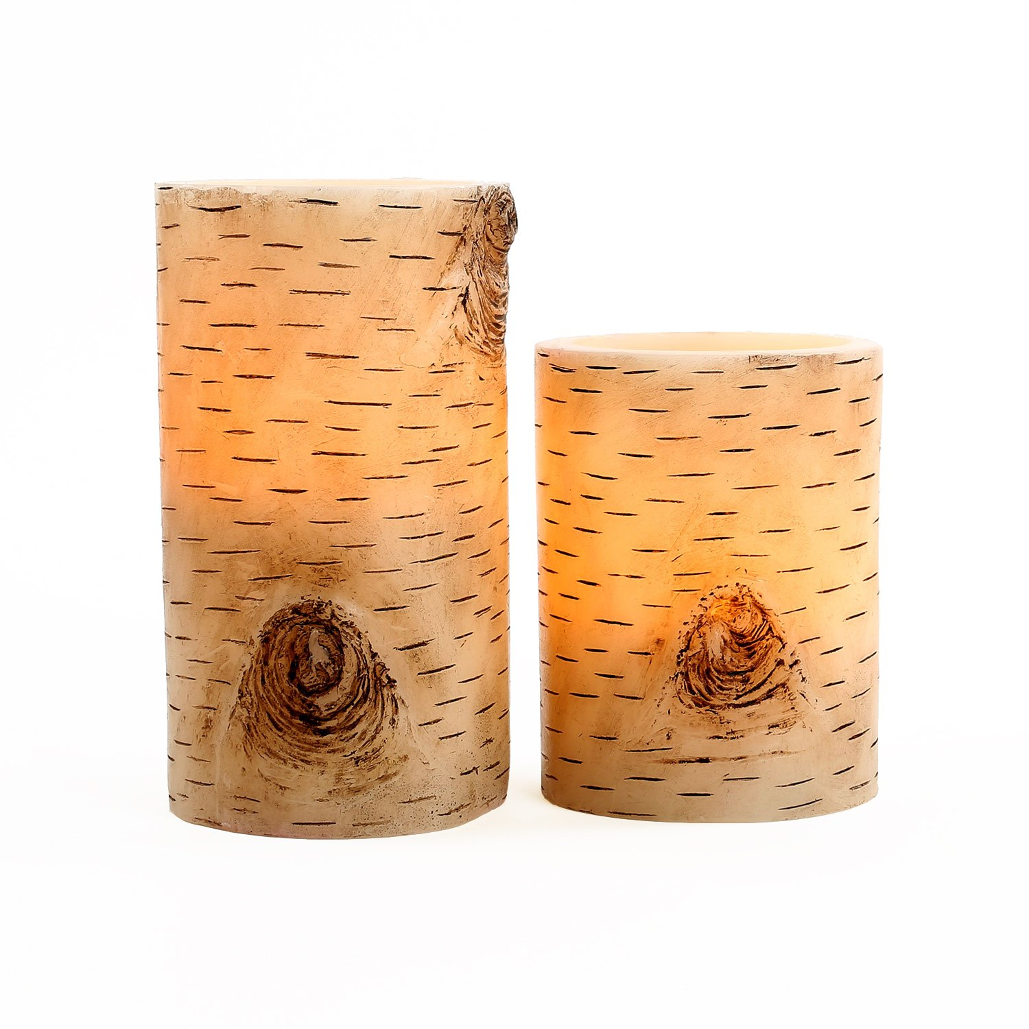 2 Birch Bark Flameless Pillar Candles with Warm White LEDs, Wax, Variety Set, Battery Operated