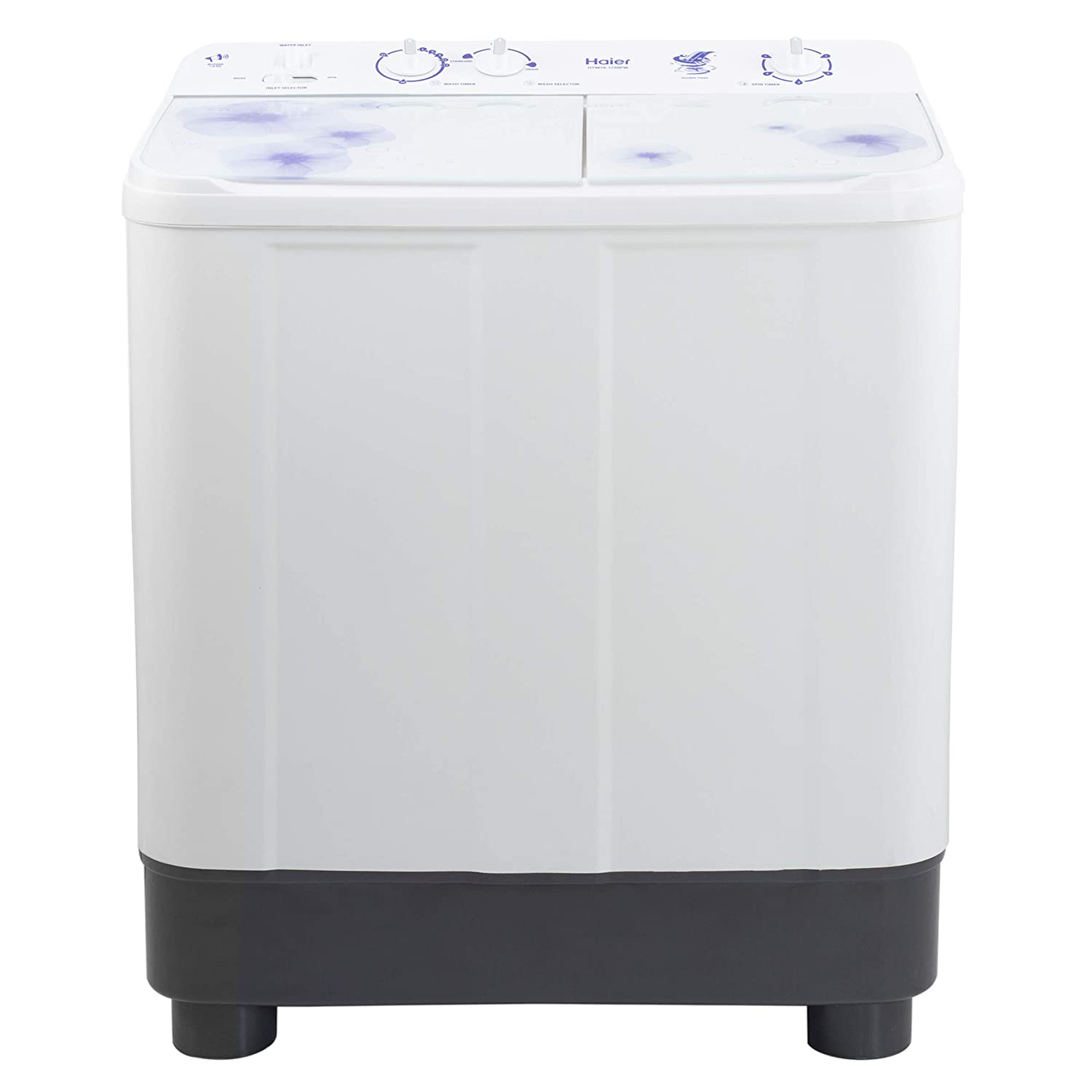 Haier 7.6 kg Semi-Automatic Top Loading Washing Machine (HTW76-1159FW, White Floral)