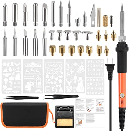 Wood Burning Kit,Genround Wood Burning Pen Soldering Iron Tips 54pcs Ajustable Temperature Control,Carving Pyrography Pen Embossing Woodburner Stencil Stand,Leather WoodBurning Tool Set Carrying Case