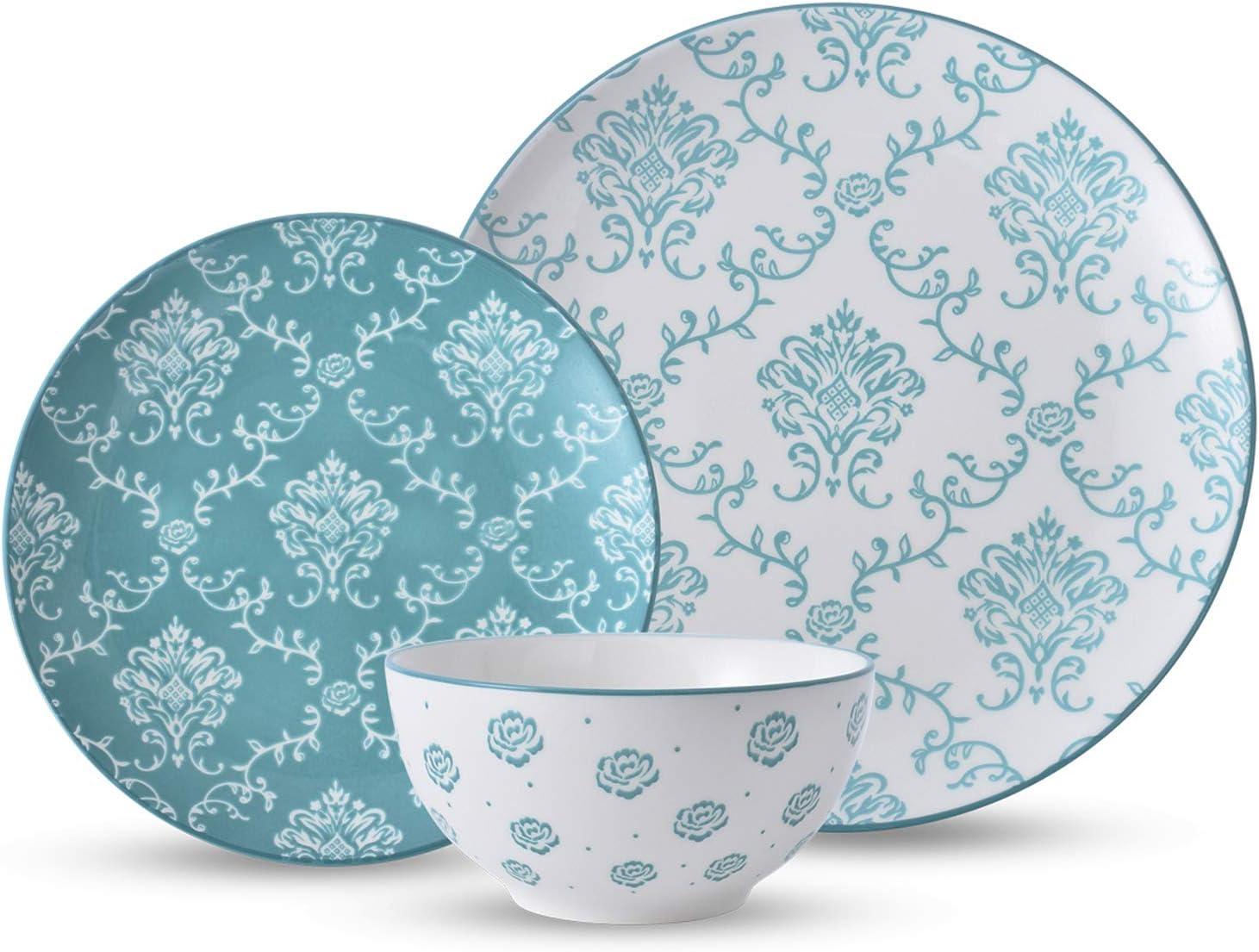 | Original Heart Dinnerware Set Dishes Set Green Stoneware Plate Set12pcs Bowl and plate set: Dinnerware Sets