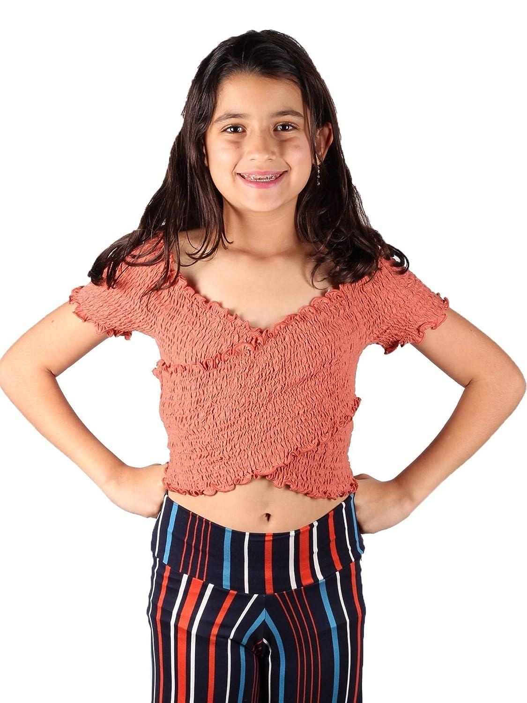 Lori /& Jane Big Girls Coral Elastic Smocked Crisscross Off-Shoulder Top 10-16