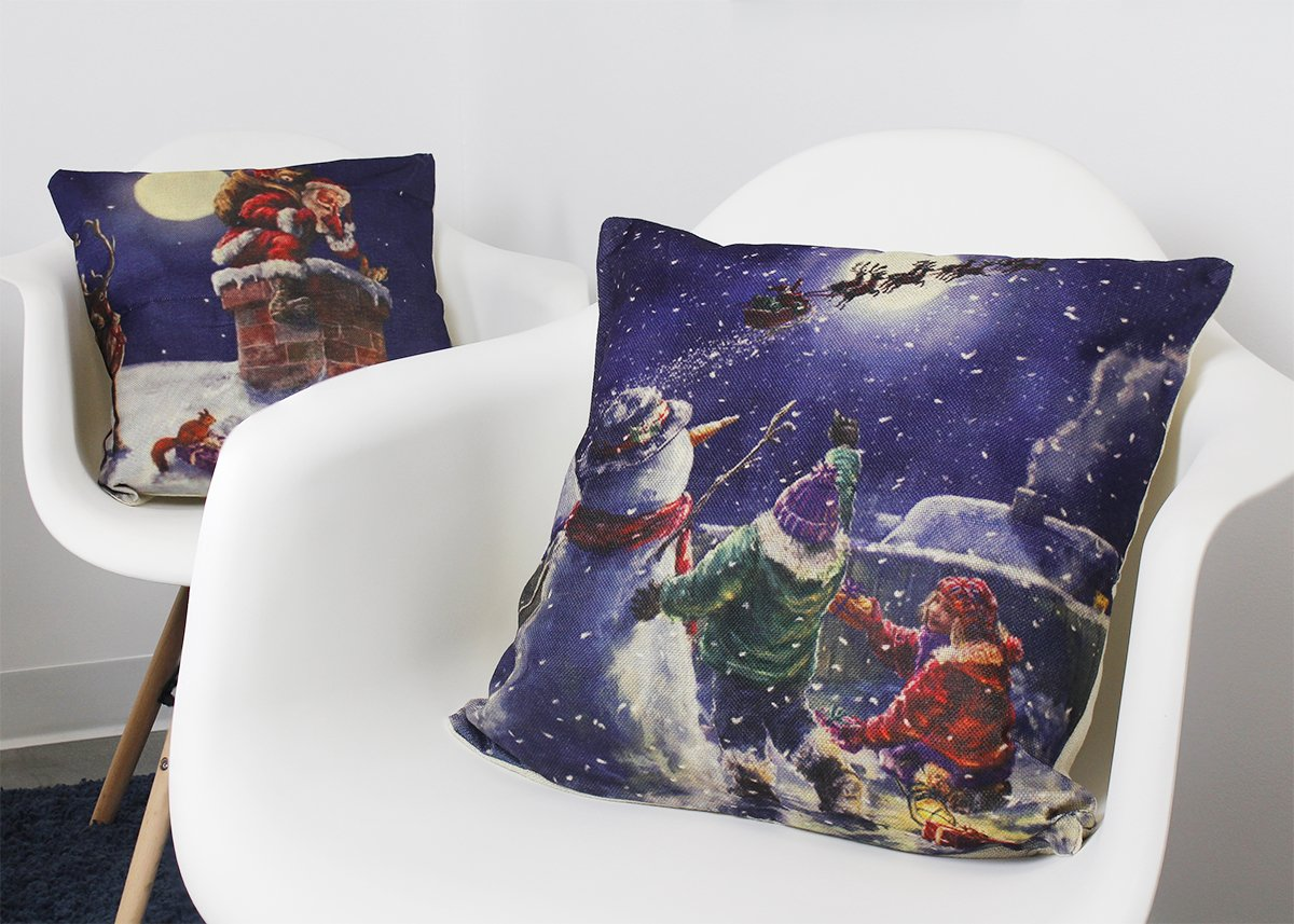 Sofa Holiday Season Decorations for Couch Christmas Pillow Cases 17.7 x 17.7 Inches Set of 4 Christmas Throw Pillow Covers Assorted Designs Chair Throw Pillow Decor