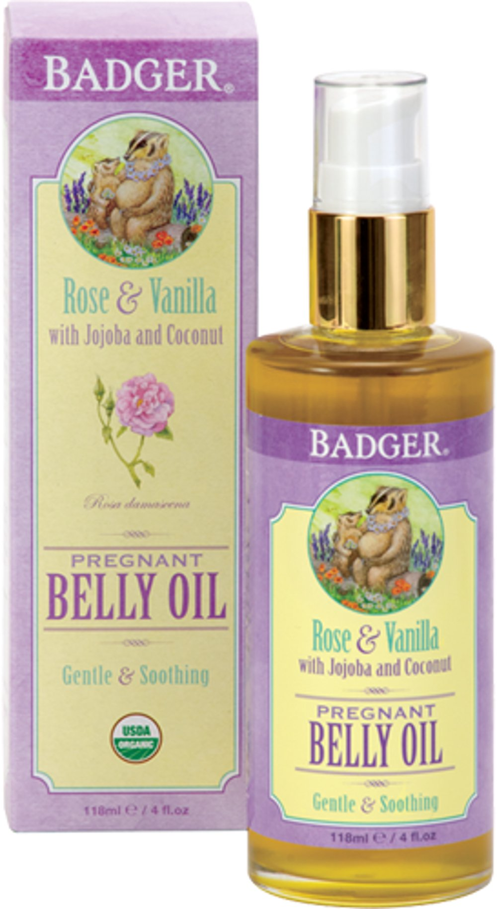 Badger Organic Pregnant Belly Oil - Jojoba & Coconut - 4 oz.