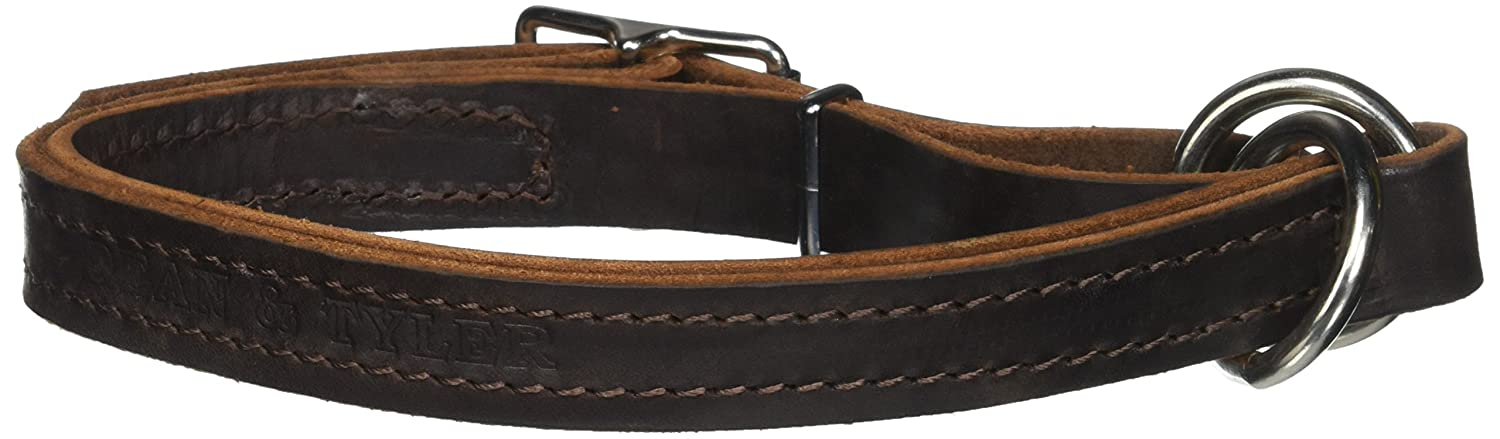 Dean and Tyler Strictly Business , 2-in-1 Dog Choke Collar with Solid Nickel Hardware Brown Size 18-Inch by 1-Inch Fits Neck 16-Inch to 18-Inch