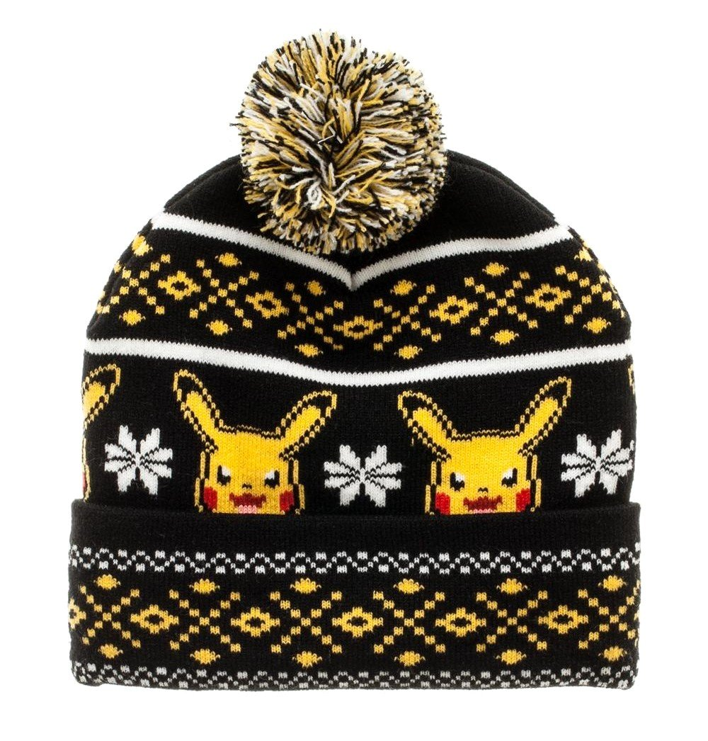 Pokemon Pikachu Licensed Pom Cuff Beanie Knit Hat Black N' Yellow Winter Tuque Bioworld