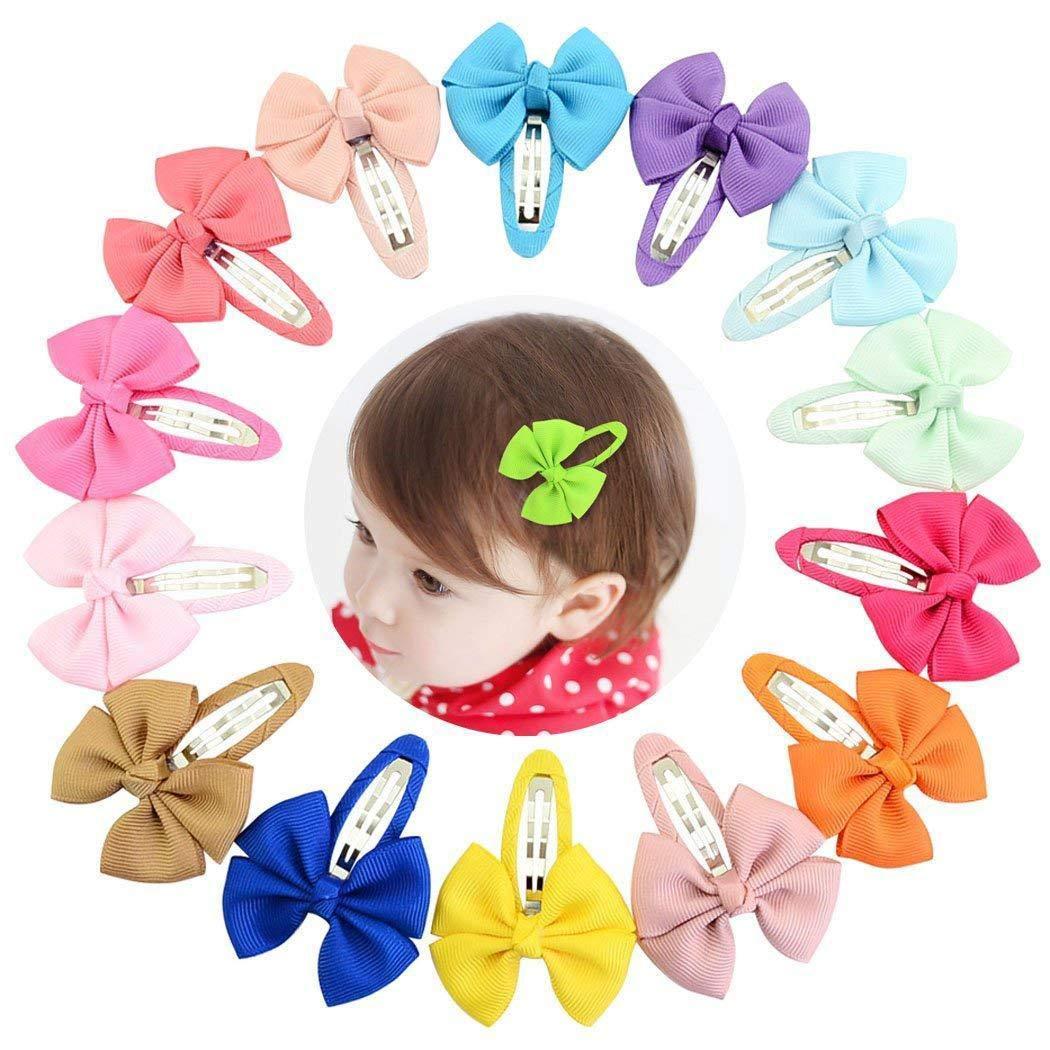 Lazinem 20 Pcs/Set Kids Fashion Casual Cute Headwear Polyester Ribbed Band Bow Hair Clip Clips