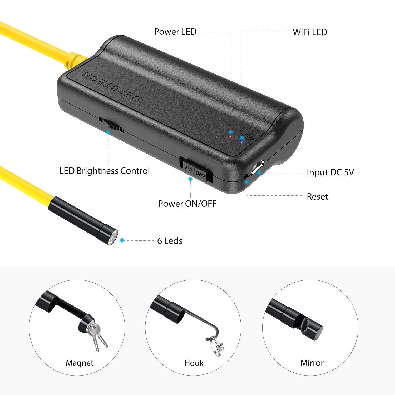 DEPSTECH Endoscopio Wireless WiFi Megapixel 5MP HD Semirigido Telecamera di Ispezione Impermeabile Compatibile con Samsung//Android//iPhone//iPad 5 Metri