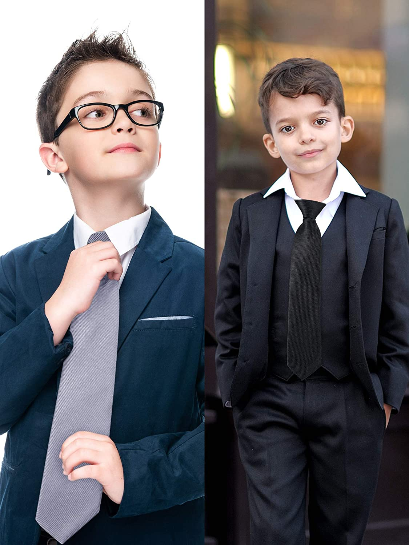 5 Pieces Kids Ties Boys Zipper Pre-Tied Necktie Adjustable Satin Ties for Kids Wedding Graduation School Uniforms