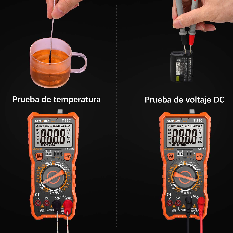 amp/èrem/ètre multim/ètre num/érique ohmm/ètre avec NCV transistor de tension AC//DC mesur testeur /électrique LOMVUM Multim/ètre voltm/ètre portatif /écran LCD r/étro-/éclair/é