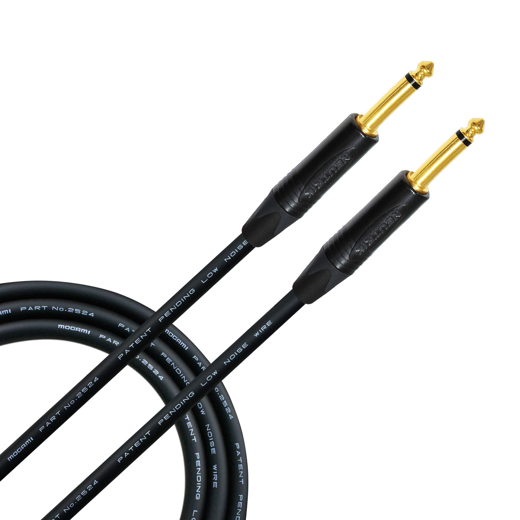 10 Foot - Guitar Bass Instrument Cable CUSTOM MADE By WORLDS BEST CABLES - using Mogami 2524 wire and Neutrik NP2X-B ¼ Inch (6.35mm) Straight Gold TS Connectors