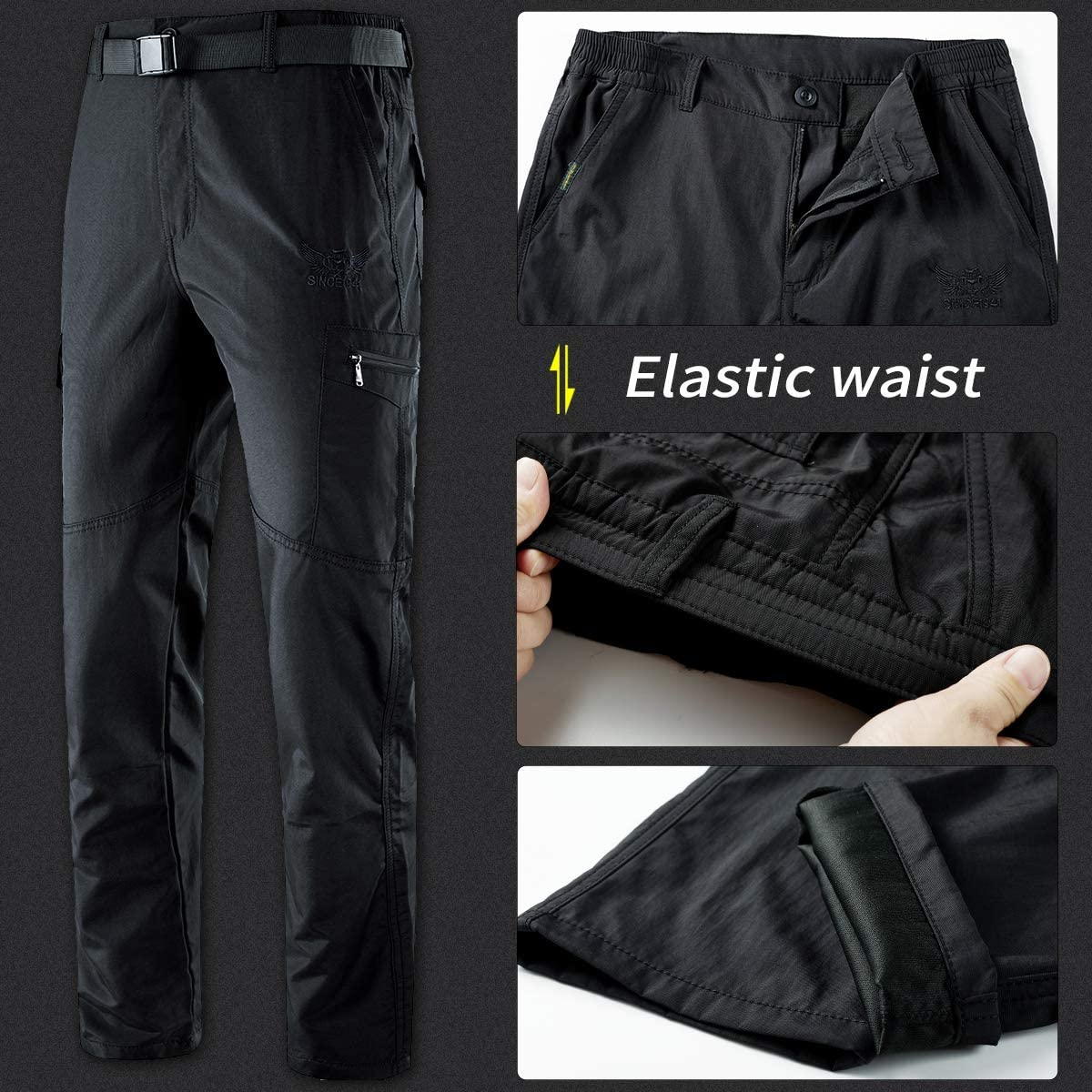YAWHO Mens Outdoor Hiking Trousers Quick Dry Lightweight and Thick Fleece Climbing Fishing Cargo Camping Ski Softshell Pants with Belt