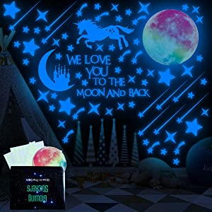 Glow in The Dark Stars and Moon for Ceiling, 327Pcs Shining Wall Decals/Stickers for Starry Sky, We Love You to The Moon and Back Stickers for Kids Girls and Boys Bedroom Decor Gifts