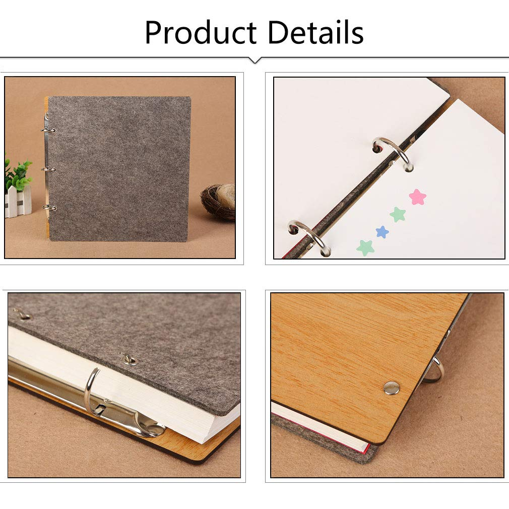 Forever ZEEYUAN Wooden Photo Album Scrapbook DIY Photo Book Wedding Guest-Book 80 Pages Memory Book Birthday Anniversary Valentines Gift for Mother Father