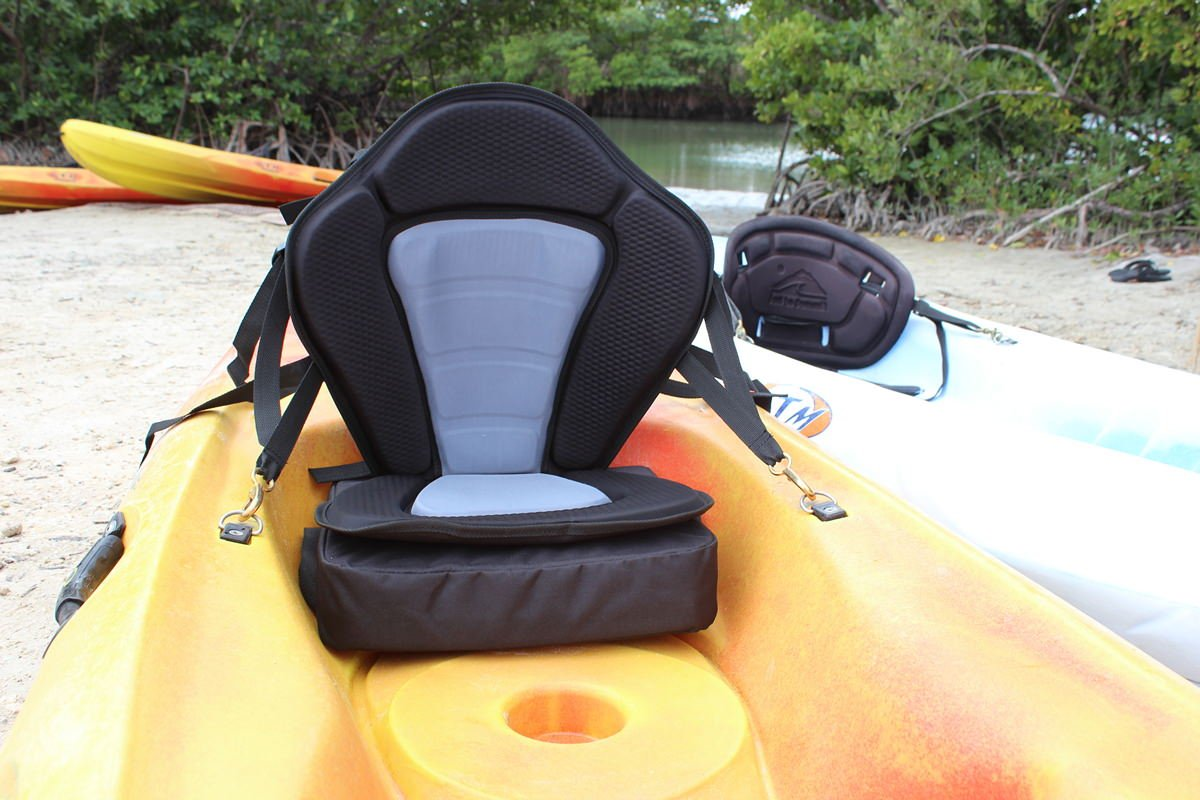 Deluxe Molded Foam Kayak Seat with detachable back packs. Kayak Fishing Seat. Backpack comes with 2 rod holders. Saturn