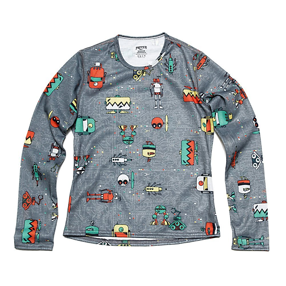 Hot Chillys Youth Pepper Skins Print Crewneck - Bots-Charcoal, XS