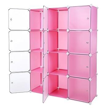 9dacb024a83a SONGMICS Interlocking Storage Cube Organiser Shelf/Shoe Rack/Wardrobe  Cabinet 112 x 37 x 148 cm Pink LPC34P