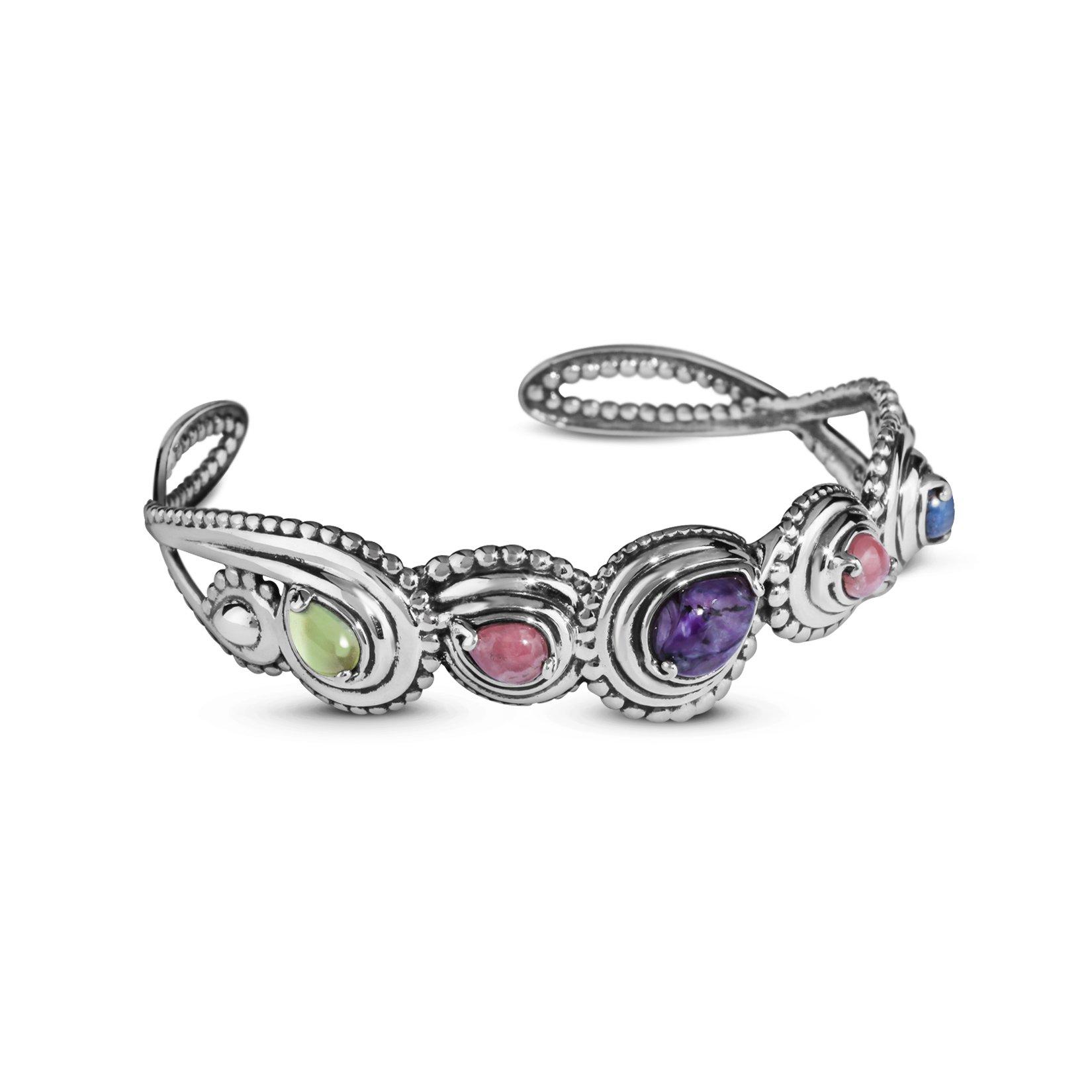 Carolyn Pollack Sterling Silver Multi Gemstones Cuff Bracelet, Medium