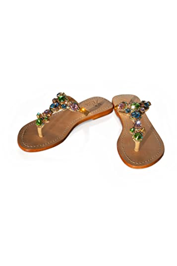 503e53674 PASHA WOLIN Crystal Jeweled Leather Sandals (5)