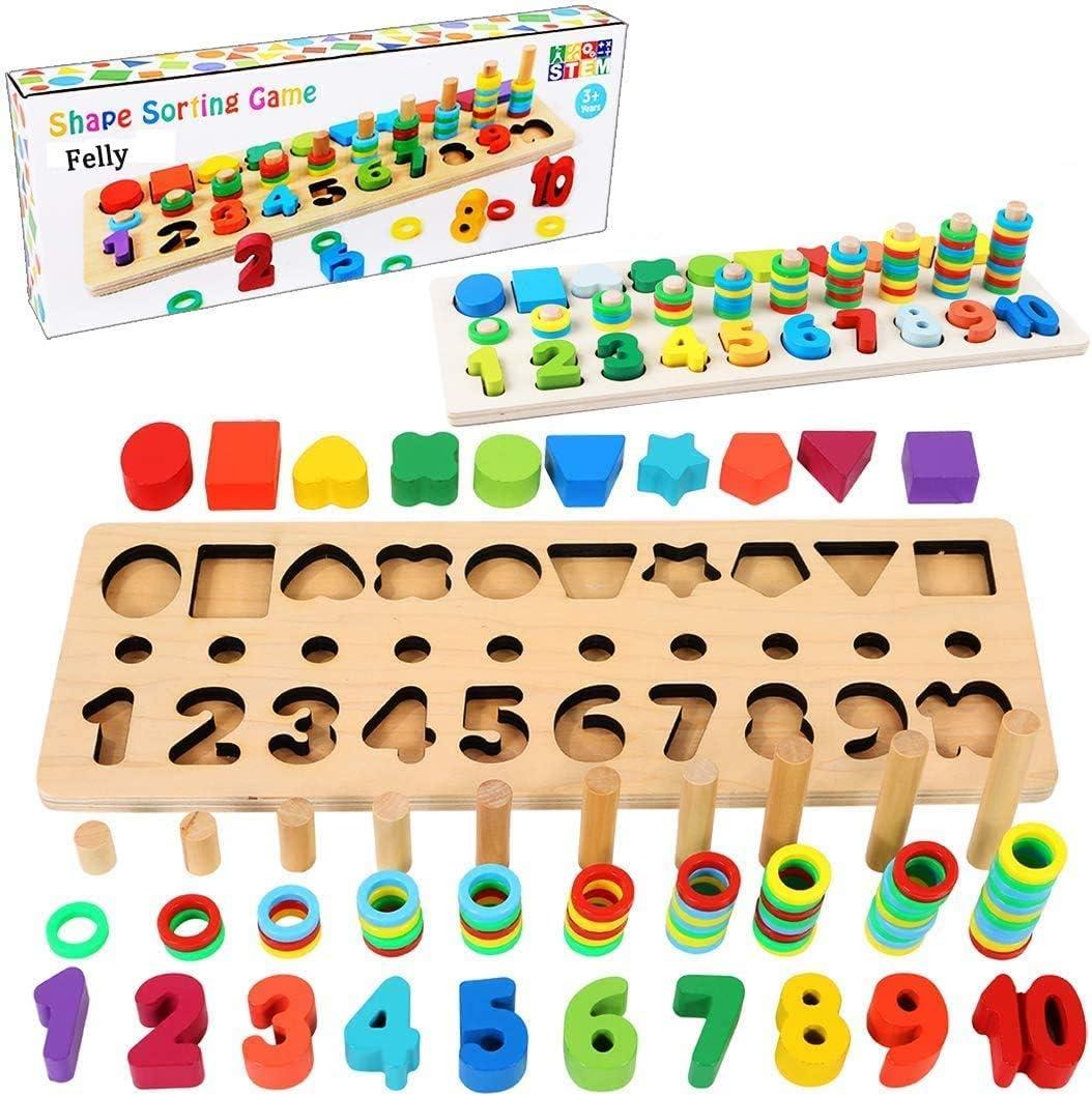 Felly Juguetes Bebe 1 2 3 años Niños, Juguetes de Madera Montessori Tablero de Conteo de Números de Apilamiento de Clasificación Matemática Aprendizaje de Juegos, Regalo de cumpleaños, Navidad