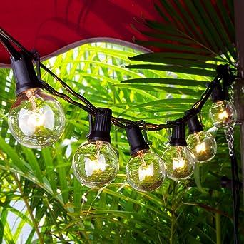 9db94cb39c23c5 Chenci G40 Guirlandes Lumineuses Guirlande Guinguette 7.62m 25 Ampoules Led  Raccordable Blanc Chaud, Décoration