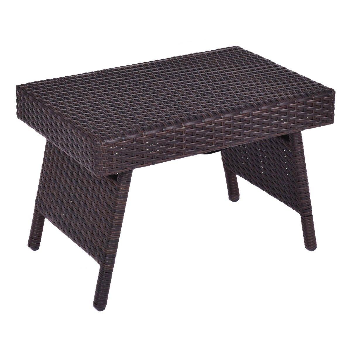 Portable Folding PE Rattan Side Coffee Table