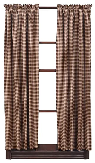 Amazon.com : Plaid Short Panel Cotton Curtain in Red Tan and Navy ...