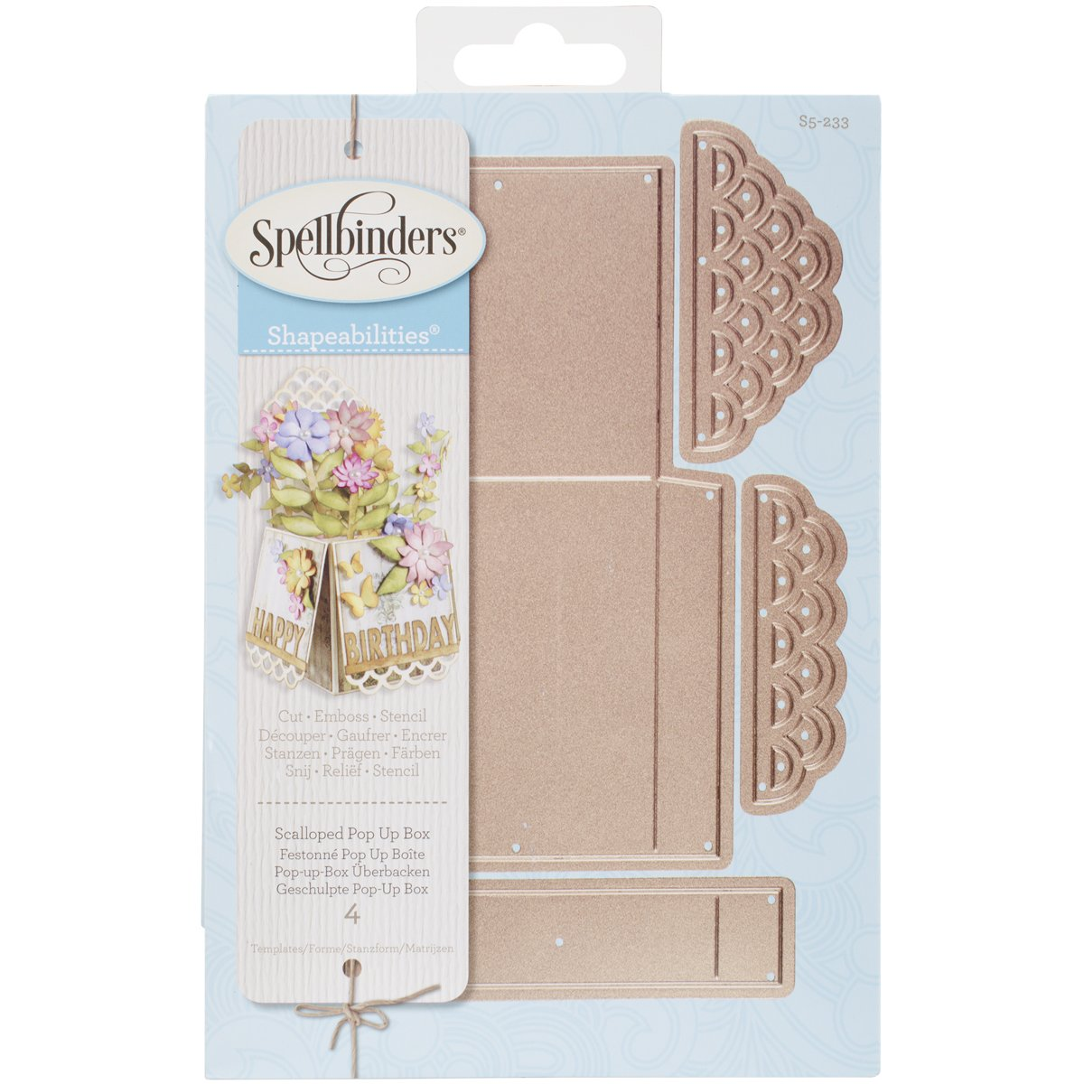 All occasion dies popping box card template trellis arch spellbinders scalloped pop up box pronofoot35fo Image collections