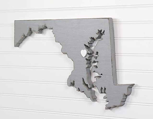 Maryland State Shape Wood Cutout Sign Wall Art 21 Wide 20 Paint Colors Personalized With Choice Of Wooden Dimensional Heart Or Star At Hometown