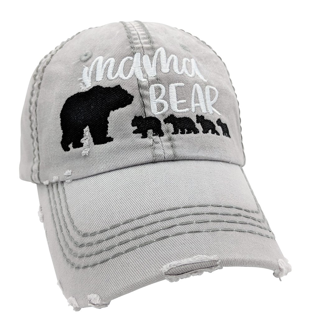 Loaded Lids Women's Customizable, Choose Cub Number, Mama Bear Baseball Cap (LightGrey/Customized) by Loaded Lids